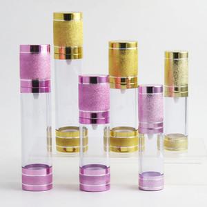 15ml 30ml 50ml Botellas recargables Airless Pump Oro Rosa Mini Portátil Vacío Estética Cosmética Bomba de tratamiento Botella de viaje