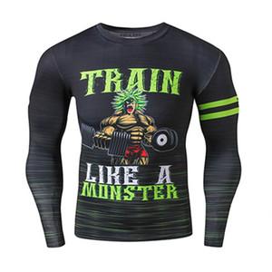 Zrce марка одежды мужчины сжатия рубашка с длинным рукавом Dragon Ball фитнес хип-хоп одежда 3d тренировки причинно футболка Homme