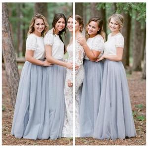 O-Neck Lace Top A-Line 긴 신부 들러리 드레스 Tulle Skirt 정식 플로어 길이 Custom Vestidos De 신부 들러리 메이드 명예 싸구려