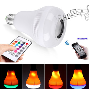 LED Bluetooth пламени лампы RGB 18W E27 Пульт дистанционного управления Теплый белый свет пламени Эффект лампы Wireless Stereo Audio