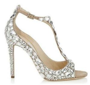 2018 Luxus Diamant Hochzeit Jeweled Heel Gladiator Sandalen Frauen Strass Kristall verschönert T Strap Sommer Party Sandalen