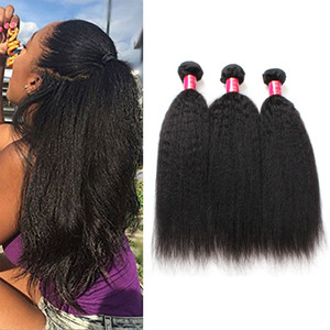 Brasileiro Kinky Human Human Weave Bundles 8A Não Transformânia Peruana Malásia Indiana Indiana Italiana Grossa Afro Yaki Extensões de Cabelo Direto