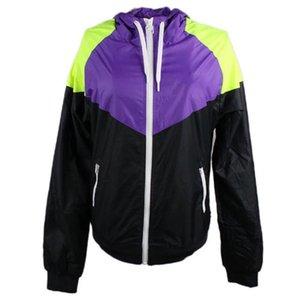 Damen Jacken Windjacke Sportmantel Zipper Hoodies Patchwork Famous Print Oberbekleidung Großhandel S-XL