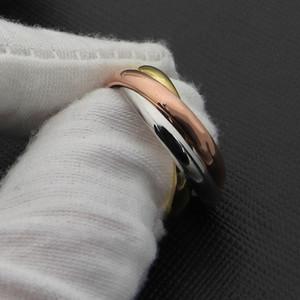 Acero inoxidable 18 K oro tricíclico de tres colores famoso anillo de la joyería del amor anillo del manguito para la mujer hombre pareja regalo
