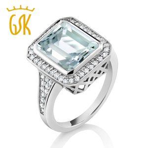 GemStoneKing 5.00 Ct Octagon Cut Simulated Aquamarine Ring 925 Sterling Silver Vintage Ring For Women Y18102610