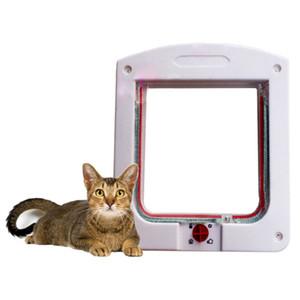 New Durable Plástico 4 Way Bloqueio Magnético Pet Cat Door Cão Pequeno Gatinho À Prova D 'Água Flap Portão Seguro Cat Hole