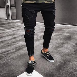 Mens refrescan Marca Negro pantalones vaqueros flacos de las Stretch Slim Fit Hip Hop destruidos rasgado con agujeros para los hombres