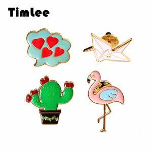 Timlee X291 Мультфильм Симпатичные Фламинго Эмаль Pin Кактус Оригами Птица Сердце Дизайн Металлические Булавки Брошь Оптовая