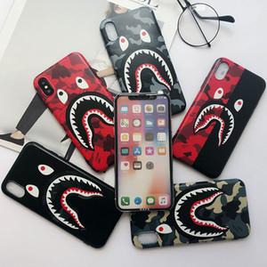 Cas de haute qualité Cool Fashion Shark Mouth pour iPhoneX 8 8plus IMD souple TPU Camouflage Shark Couverture arrière pour iphone 6S 7