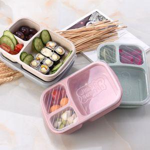 도시락 밀 밀짚 전자 레인지 3 그리드 Bento 상자 식기 학생 휴대용 야외 캠핑 음식 과일 스토리지 뚜껑 주방 액세서리