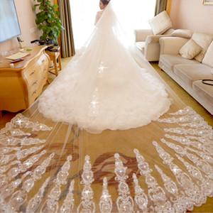 Shining Sparkly Applique Crystal Long Wedding Veil Two Layer Bride Veil Accesorios de novia Alta calidad Velos de novia con peine