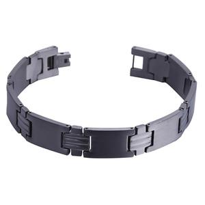 """Mens12.5MM Titanium Magnetic Therapy Bracelet Bracelet Ion Germanium Power Health Wrist Bande 8,5 """"Golden Silver Tone"""