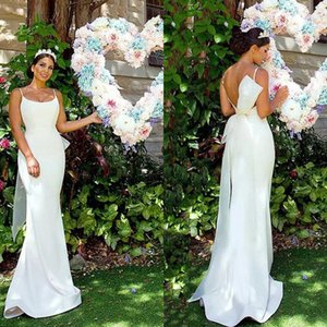 Sexy 2018 Backless Satén Sirena Vestidos de novia Baratos Spaghetti Big Bow Belt Largos vestidos de novia Simple por encargo de China EN12182