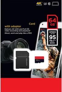 Extreme Pro 128GB 64GB 32GB 클래스 10 U3 95MB / s V30 A1 UHS-I TF 메모리 카드 Adapte