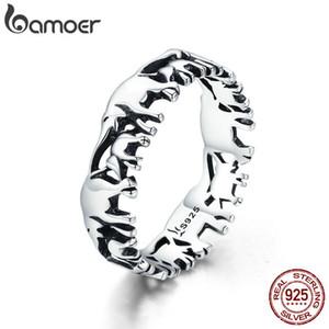 Bamoer trendy 100% 925 ayar gümüş istiflenebilir hayvan koleksiyonu fil aile parmak yüzük kadınlar için gümüş takı scr344 y1891205