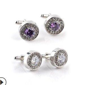 nakliye sıcak moda azade manşet düğün daire için kristal Fransız bez manşet takı kol düğmeleri