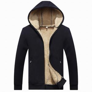 Los nuevos Mens Hoodies Ropa para hombre de peso pesado alineada Sherpa Full Zip Fleece con capucha de algodón de invierno con capucha de la chaqueta envío gratuito