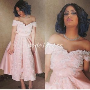 Arabic Tea Length Pink Cocktail Party Dresses 2018 Off Shoulder Appliques Short Prom Party Gowns Robes de soirée dubai Homecoming Dress
