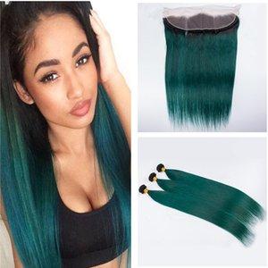 Ombre verde cabelo com raízes escuras raízes 1b cabelo humano verde tece com trama do cabelo virgem brasileiro frontal do laço frontal
