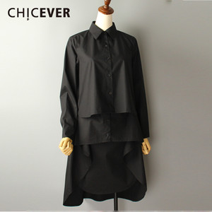 CHICEVER 2018 Spring Summer Women's Shirt Blouses Asymmetry Long Sleeve Black Plus Size Women Shirts Clothes Fashion Korean New