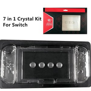 Free shipping 7 in 1 kit Protective Anti-Scratch Transparent Clear Crystal Shell Hard Cover Case for Switch