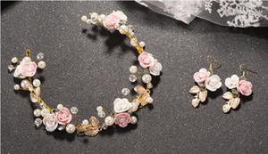 Copricapo da sposa Fiore Perla di cristallo Fasce per la cerimonia nuziale con orecchino Diademi per le donne