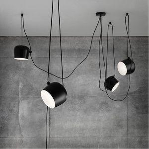 FUMAT Modern Yaratıcı Moda DIY Amaç Lamba İç Aydınlatma akrilik kapak Beyaz Siyah Demir Gölge Kolye Işık Cafe Süspansiyon Lambası armatür