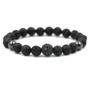 Black Beads Natural Stones Ball Charm Lava Stone Beads Men Bracelet Black Lava Beads Bracelets