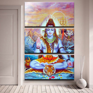 Canvas Pictures Wall Art Home Decor 3 Pieces God Of India Shiva Paintings For Living Room HD Prints Abstract Poster Framework