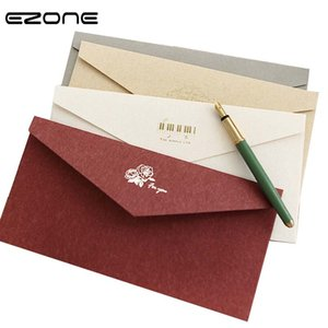EZONE Vintage Stamping Envelope Simple Style Cute Color Stickers/Pack Blank Paper Message Card Leer Stationary Storage Gift