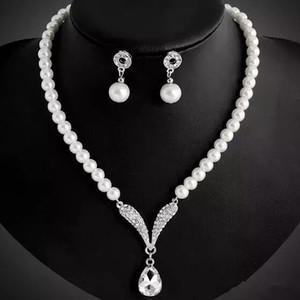 Pearls Свадебные украшения наборы Люкс серьги ожерелье Set На складе Holy White Crystal Пром коктейль партии ожерелье Люкс ювелирные изделия