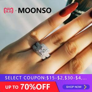 Moonso lujo! 925 anillo de plata esterlina conjunto anillo de bodas anillo de compromiso de moda para las mujeres nupciales moonso joyería LR3400S D18111306