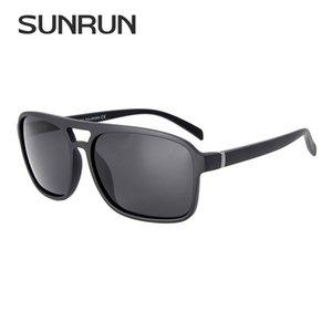 Venda Por Atacado óculos de sol dos homens do vintage polarizada praça tr90 quadro óculos de sol marca designer double-ponte óculos para o homem 18024