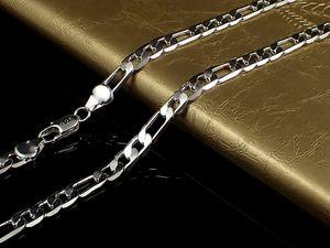 """Belas Sólido 925 colar de prata 4mm Colar Homens Mulheres 16"""" - 30 polegadas XMAS 2020 New Hot clássico Curb Colar Chain Link Itália N102"""