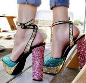 Bling Glitter Karışık Renkli Kare Kalın Yüksek Topuklar Elbise Düğün Ayakkabı Kadın Açık Burun Gladyatör Sandalet Artı boyutu Bling Bayanlar