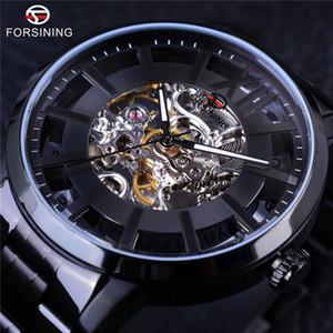 Forsining Transparente Caso 316 Resistência À Água Em Aço Inoxidável Mens Relógios Top Marca de Luxo Automático Esqueleto Wathces