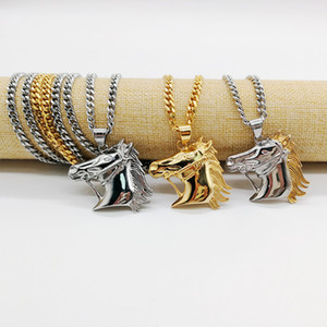 316 Stainless steel hip hop necklace horse head pendant necklace a pony club dance chain accessories Choker Necklace CAGF0078
