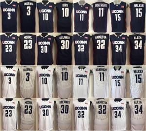 Uconn Connecticut Huskies Chandails College 15 Kemba Walker 10 Sue Bird 3 Diana Taurasi 30 Breanna Stewart 34 Ray Allen Basketball Jerseys