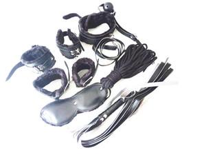Sexo 7-em-1 BDSM Engrenagem Kit de Restrição de Bondage Sex PU Escravo Pulso Tornozelo Cuffs Collar Chicote Boca Blindfold Boca Da Mordaça Bola Brinquedos JD1165