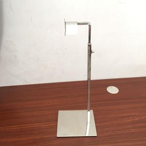 Espejo de acero inoxidable plateado ajustable soporte de exhibición del soporte del bolso del metal que muestra el estante del sostenedor suspensión tienda de ropa QW7168