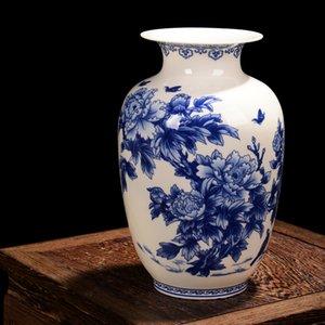 Jarrones de porcelana azules y blancos Jingdezhen jarrón de china de hueso fino Jarrón de cerámica decorado de alta calidad