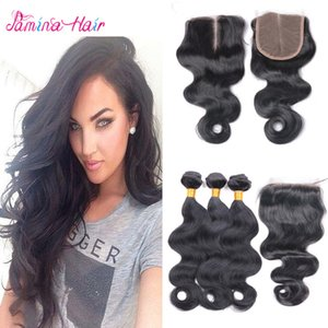Best Ali Ishow Hair Weave Filipino Virgin Hair Body Wave 3 Bundles with Lace Closure 8A Virgin Filipino Hair Weft with Closure
