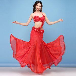 2018 New Belly Dance Costume Oriental Dance Costume Embroidered Flower Rhinestones Bellydance Belt Belly Skirts