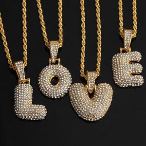 Hip Hop Küçük Kabarcık Captial Mektupları Salkım kolye Zirkon A-Z kolye Altın Gümüş Renk Alfabe kolye kolye