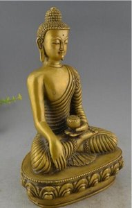 Tibet Buddhism Brass Medicine Buddha Dragon Robe Sakyamuni Statue