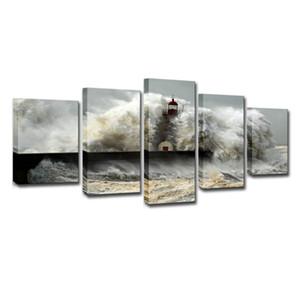 Duvar Sanatı Resimleri Oturma Odası Tuval Baskılar 5 Parça Deniz Dalga Denizanası Deniz Manzarası Boyama Ev Dekor Etkileri