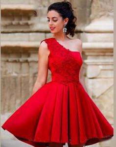 Nueva Red Mini Short A Line Homecoming Dresses Un hombro Hermosa Satén Vestidos de fiesta de graduación Sweet 16 Vestidos