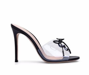 Transparent Plexi High Heel Mules PVC Peep toe Lace up Sandals Sexy Dress Heels for Women Ladies Stiletto Heel Summer Shoes 2018