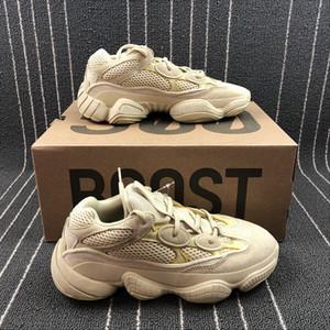 С коробкой пустыни крыса 500 кроссовки 2019 мужская Kanye West утилита черный Супер Луна желтый румяна волна бегун женская падение desginer кроссовки