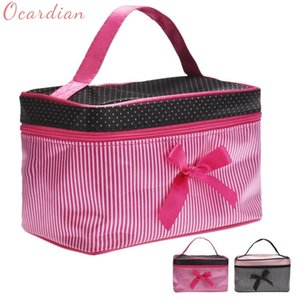 Square Bow Stripe Makeup Bag Fashion Cosmetic Bag Nuevo 19 * 12 * 11cm DropShipping Hot Pink Color negro Organizador portátil Bolsas de almacenamiento